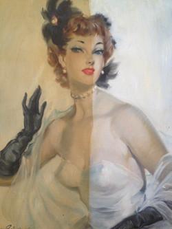 Lady in White - Oil on board