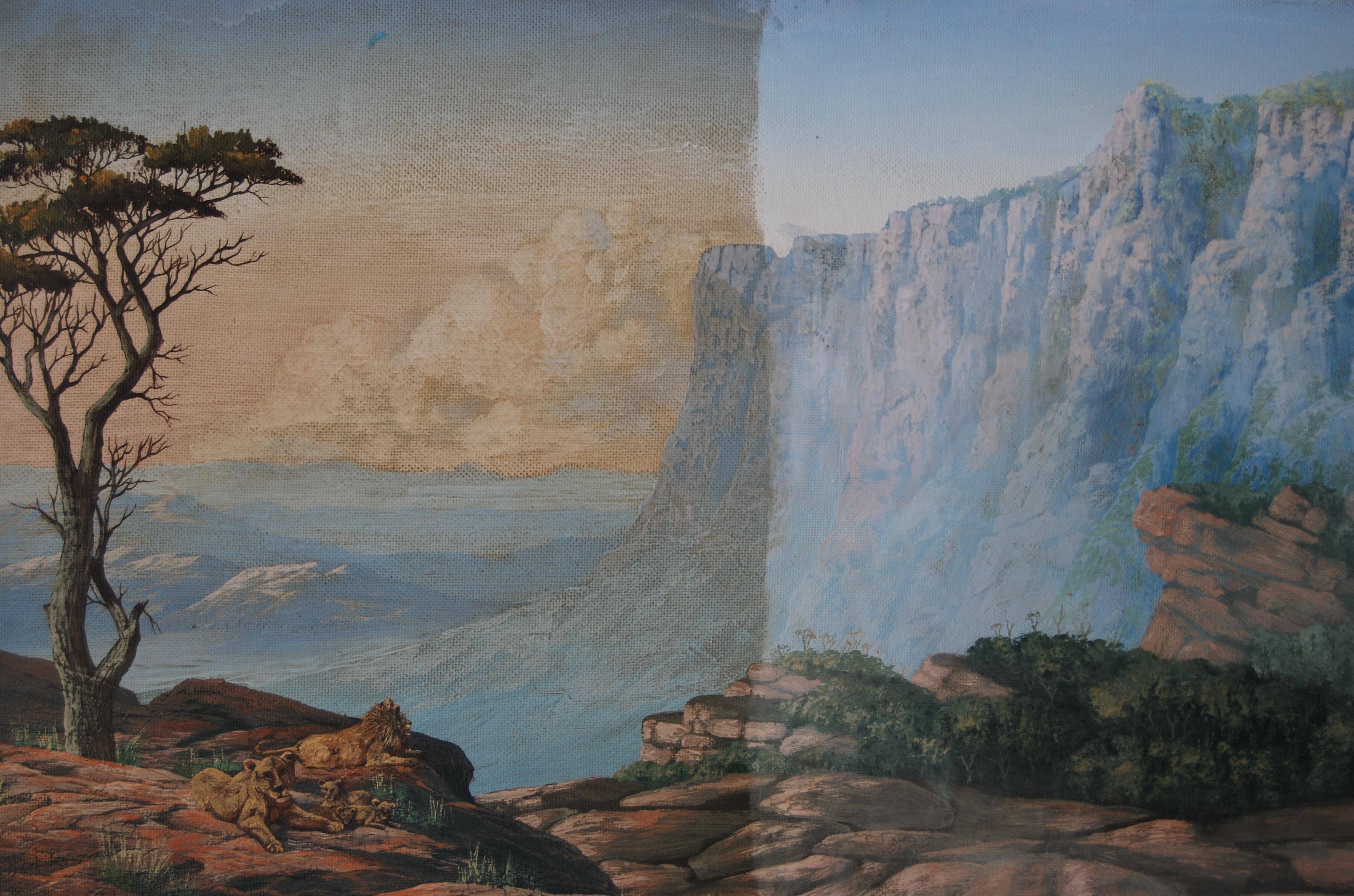 Lion Pride Landscape, Oil on board