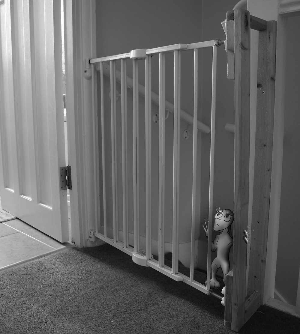 A worried Olivia checks the baby gate