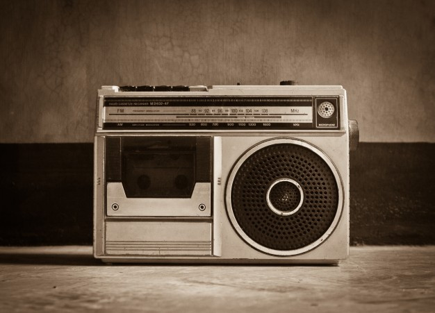 An 80's radio in sepia/grey