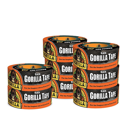 Gorilla Tape, Black Duct Tape (pack of 8)
