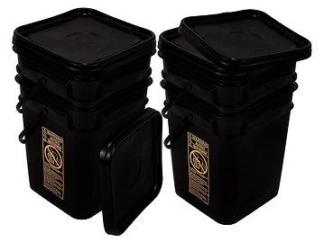 Black 4 Gallon Square Bucket with Snap On Lid (4)