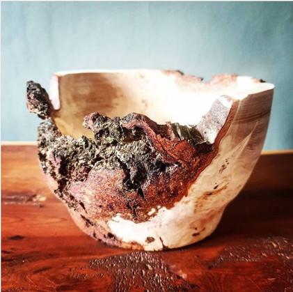 Hand-turned Beech Burr Bowl