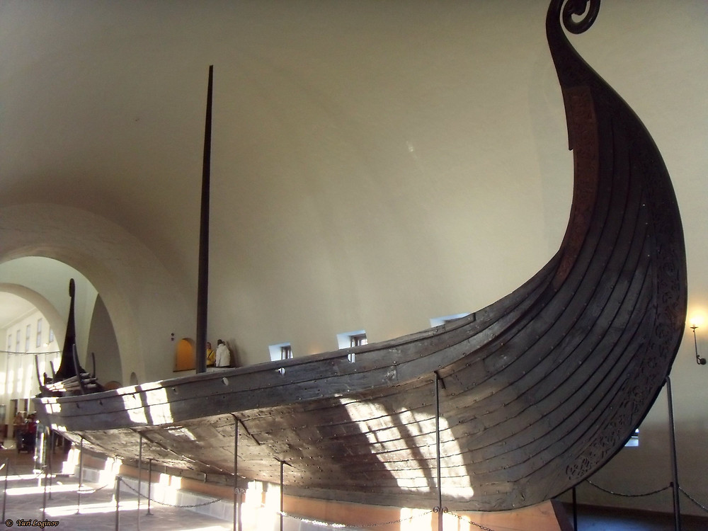 Wooden Viking ship in a museum