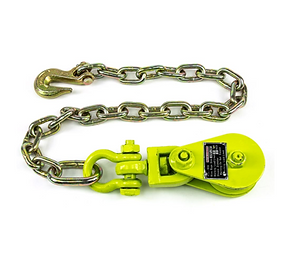 snatch block with chain and clevis grab