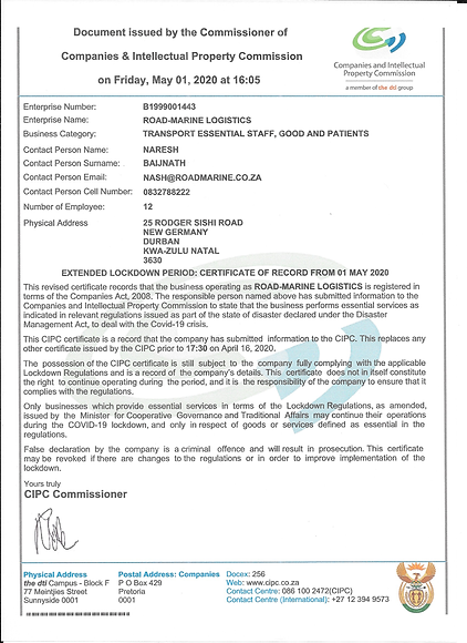CiPC Extension Certificate 1 May 2020 00