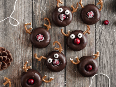 Mini Chocolate Peppermint Reindeer Donuts (Gluten Free, Dairy Free)