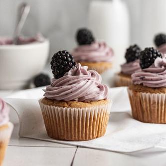 Delicious Lemon Blackberry Cupcakes (Gluten Free, Dairy Free)