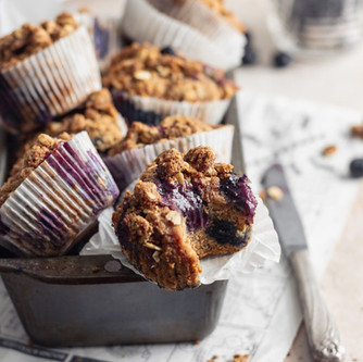 Paleo Banana Blueberry Crumble Muffins (Gluten free, Dairy free)