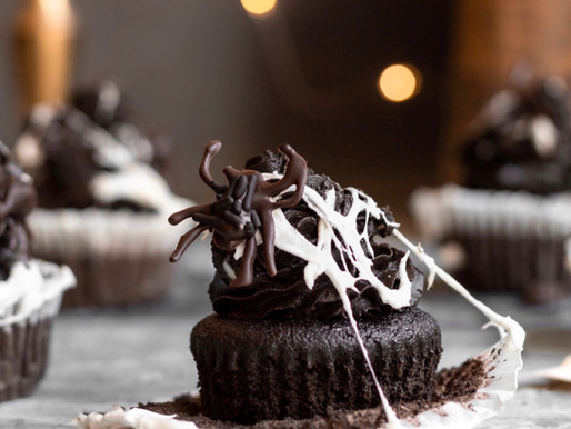 Halloween Chocolate Spiderweb Cupcakes (Paleo, Gluten Free)