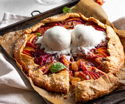 Crispy Sweet Peach Basil Galette (Paleo, Gluten Free, Dairy Free)