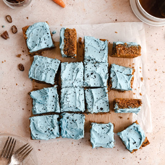 Paleo Carrot Cake Bars with Robin's Egg Frosting (Gluten Free, Dairy Free)