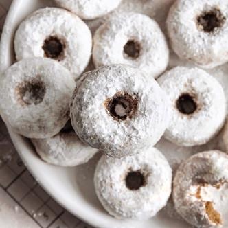 Gluten Free Mini Donuts, Powdered and Chocolate (Dairy Free, Low FODMAP)
