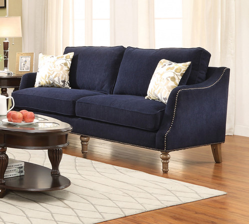 VESSOT RICH INK BLUE PATTERNED CHENILLE SOFA COUCH
