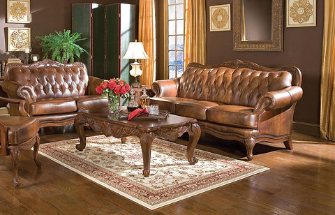 2 PCS WARM BROWN CLASSIC LEATHER SOFA LOVESEAT SET