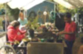 A group of three female friends work in a garden centre.