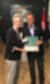 Lorraine Silliphant receiving her Canada 150 Community Leader Award.