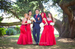 the groom with bridesmaids