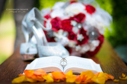 Wedding rings, shoes, bouquet