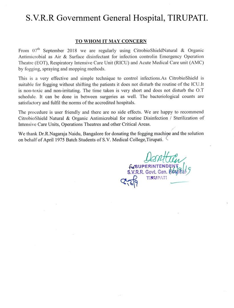 Testimonial by SVRR Government Hospital, Tirupathi