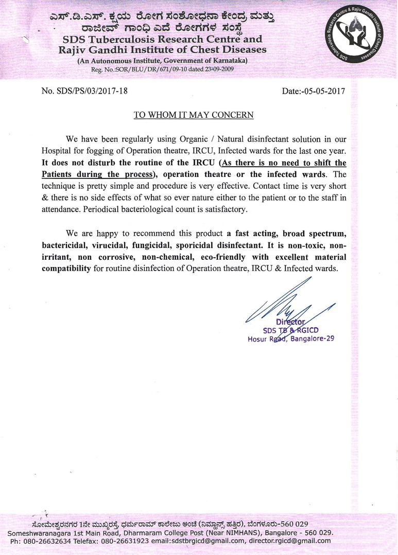 Testimonial by SDS Tuberculosis Research Centre and Rajiv Gandhi Institute of Chest Diseases