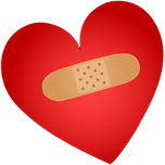 Image of a red heart with a bandage on it.