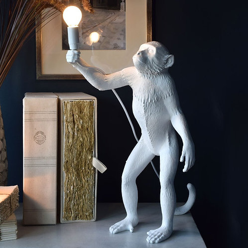 The Monkey Lamp Standing White SELETTI