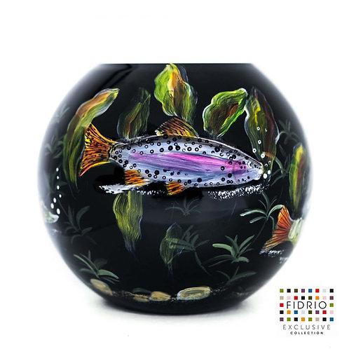 "Vase FIDRIO ""Fish black"" peint à la main"