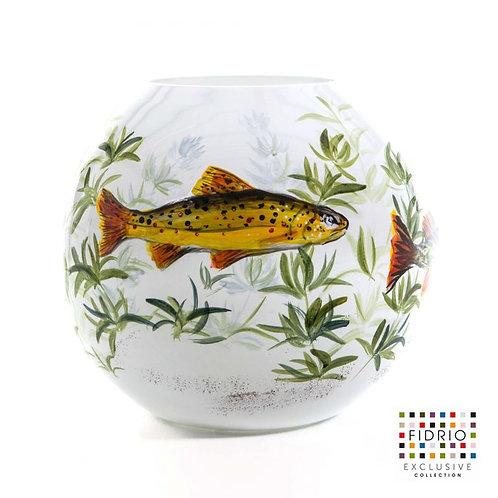 """Vase FIDRIO """"Fish white"""" peint à la main"""