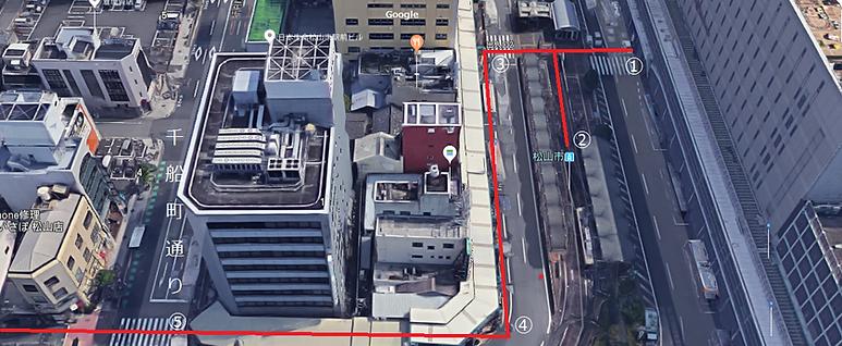 もりさわメンタルクリニックへのアクセス-松山駅から