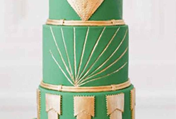 Tort Art Deco Green & Golden