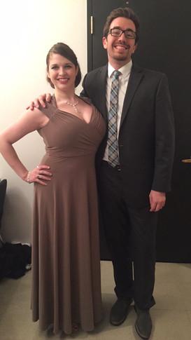 Backstage at Winners Concert, Metropolitan International Music Festival, Lincoln Square, NYC, with Mezzo-Soprano Nicole Levesque, January 2016