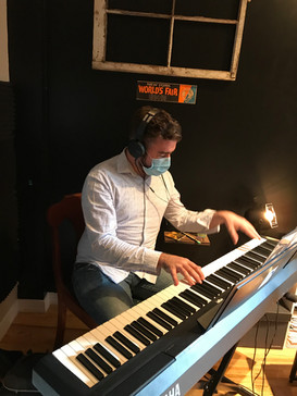Recording with composer Blake Allen, NYC, September 2020