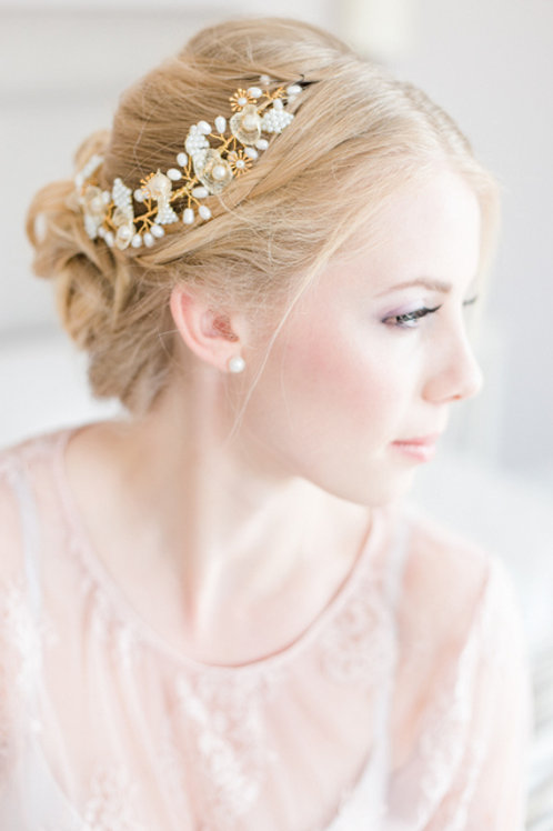 Brautschmuck-Haarranke-gold oder silber-mit Blumen