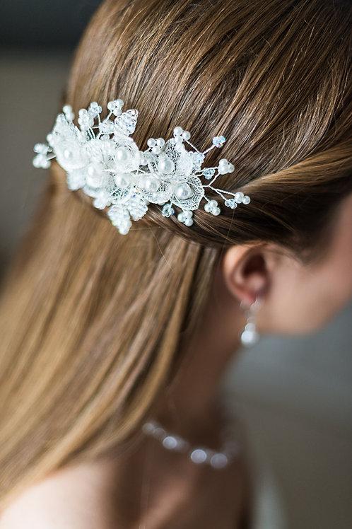 Braut Haarschmuck, Haarkamm,silber-weiß oder gold-ivory