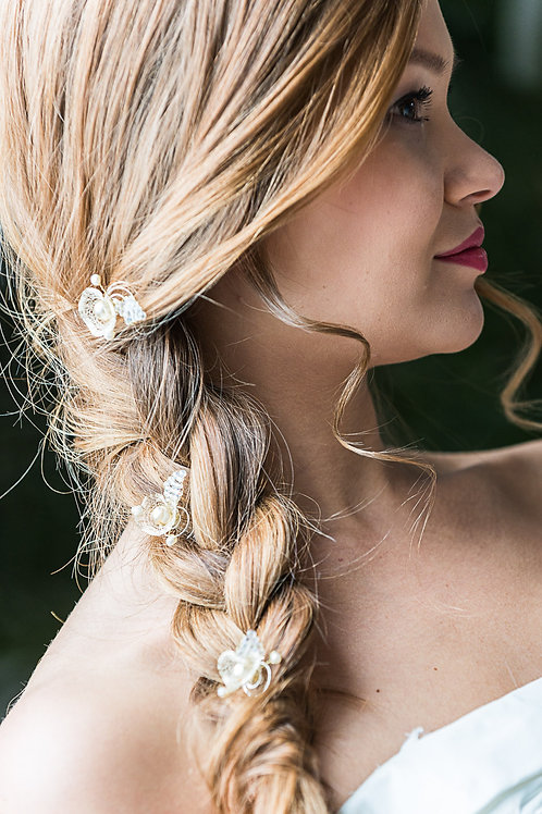 Haarnadeln/Curlies weiß/silber oder ivory/gold