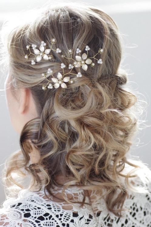Brautschmuck-Haarnadel-Blume-ivory o.weiß