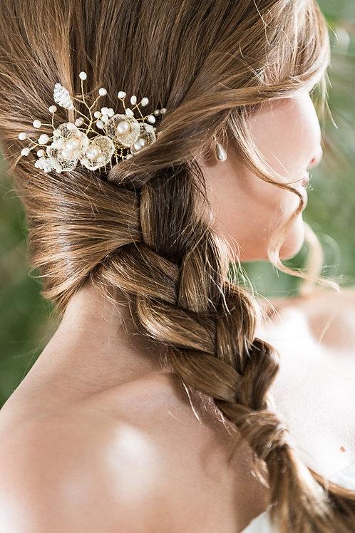 Braut Haarschmuck, Haarkamm silber/weiß oder gold/ivory