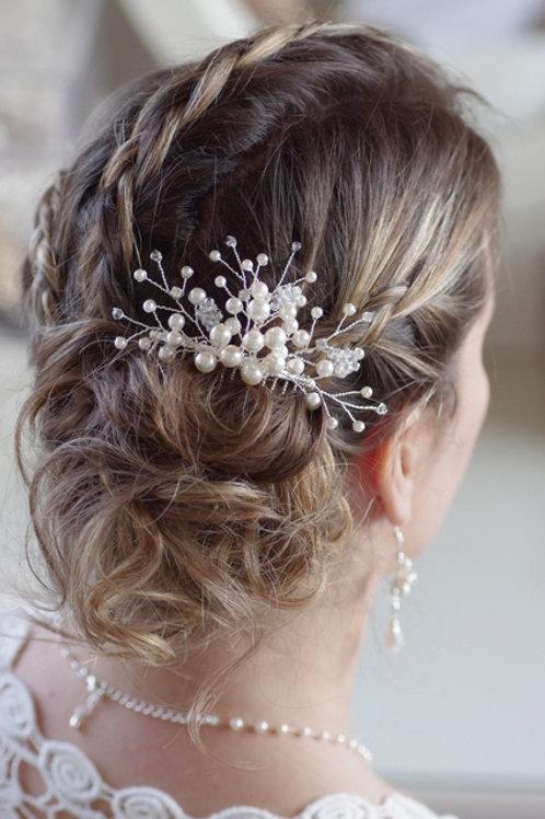 Haarschmuck, Haarkamm, Perlen, Swarowski, weiß oder ivory