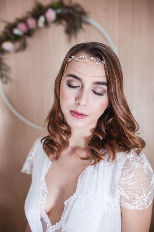 Haarband/Stirnband Swarowski,gold,ivory Perlen