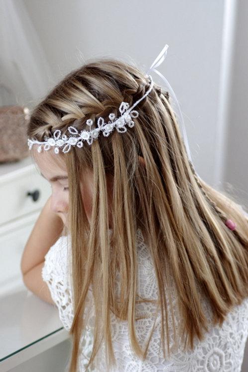 Haarband Kommunion mit weißen Blumen,Perlen
