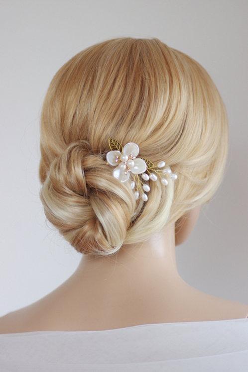 Braut Haarschmuck, Haarkamm,gold,Blume,Perlen
