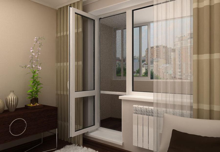 Пластиковая дверь и окно на балкон