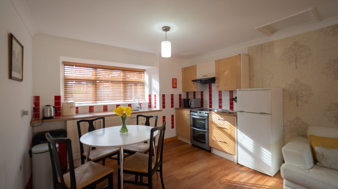 Fully equipped kitchen with oven, microwave, fridge-freezer