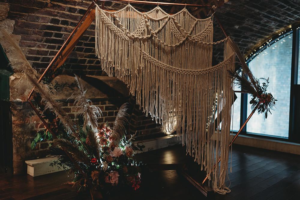 urban wedding decor macrame