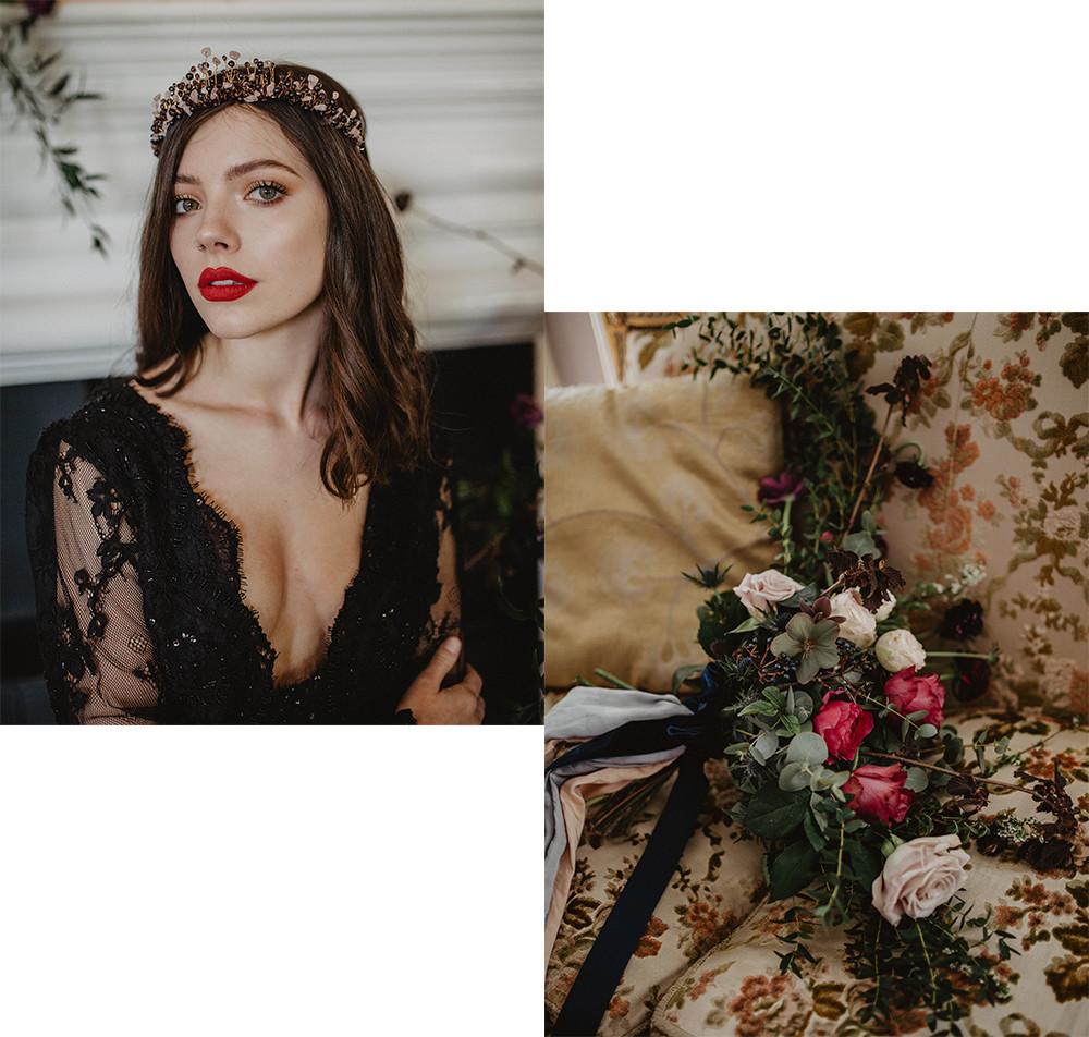 black wedding dress headpiece