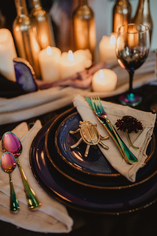 Black wedding table decor