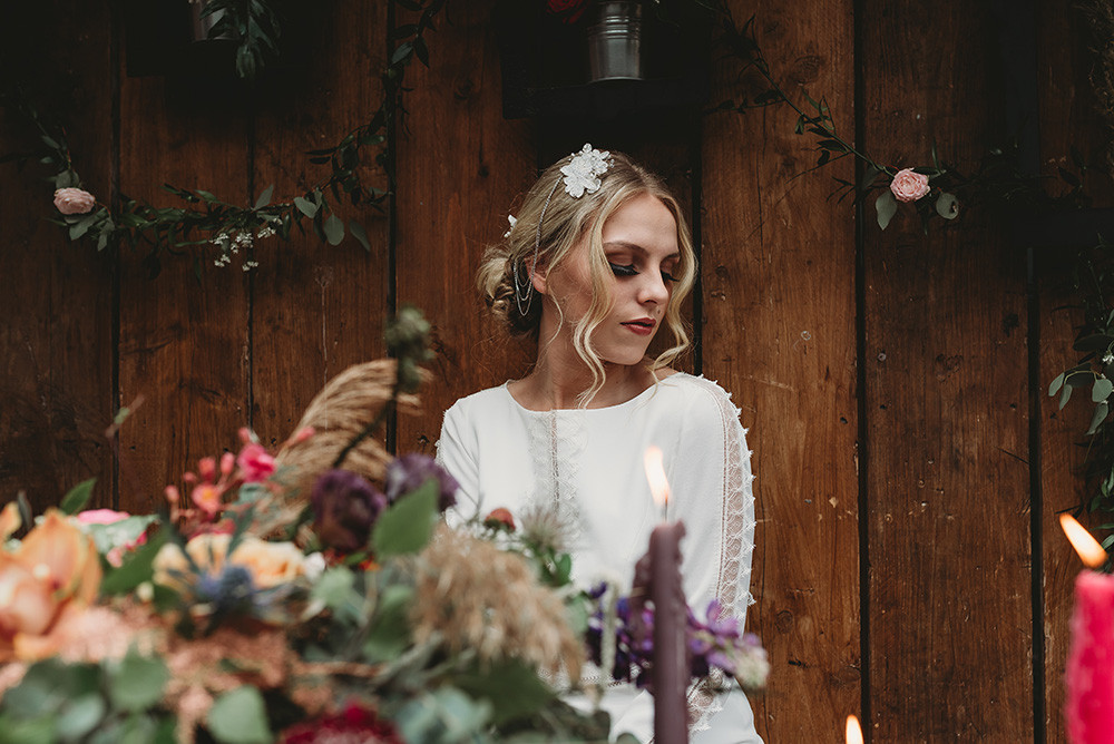 Bohemian wedding drape chain headpiece