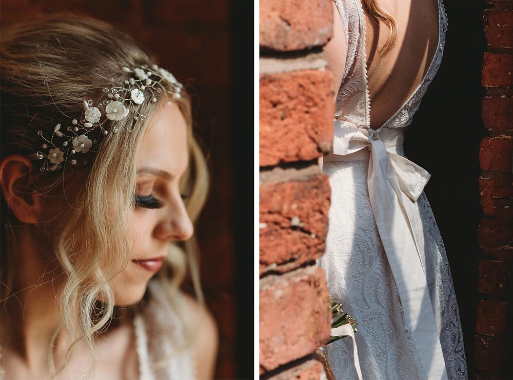 Bohemian wedding opened back dress floral hair vine