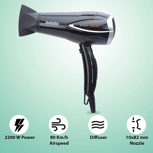 BaByliss Expert - Secador para el pelo con difusor, 2200 W